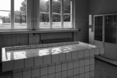 Table of autopsies and experiments, Concentration Camp of Sachsenhausen, Berlin. Table of autopsies and experiments in the Sachsenhausen concentration camp where royalty free stock photos