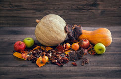 A table of autumn fruits. The fruits of autumn. Stock Photography