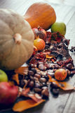 A table of autumn fruits. Royalty Free Stock Image