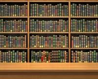 Table on background of bookshelf full of books Stock Photo