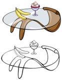 Table basse de mod avec le fruit et le dessert image stock