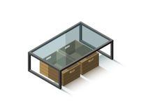 Table basse en verre isométrique de vecteur avec la boîte de magazines Image stock