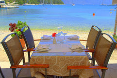 Table with beautiful sea view Stock Images