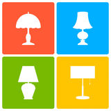 Table or bedside lamp, a set of icons. Royalty Free Stock Photography