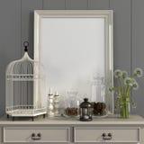 Table beige avec des décorations de cadre et d'automne d'affiche Photographie stock