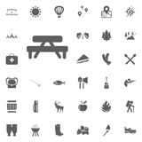 Table and bench icon. Camping and outdoor recreation icons set.  Stock Images