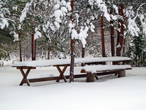 Table and bench in the snow Royalty Free Stock Image