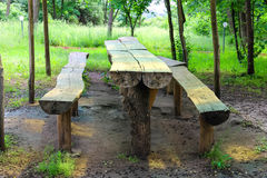 Table and benches made of logs in the park Stock Image