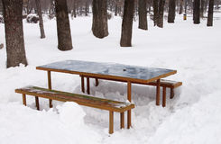 Table and benches in snow - RAW format. Resting place with benches and table in winter Stock Photo