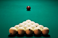 Table billiards with the prepared spheres Stock Photography