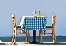 Table with Blue Checkered Cloth Royalty Free Stock Photo