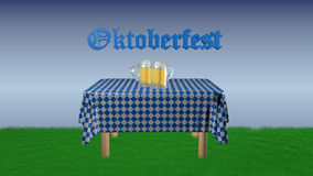Table with blue and white plaid tablecloth. Table with blue and white checked blanket on the beer jug and the text `Oktoberfest` in German, 3d illustration royalty free illustration