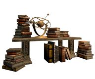 Table with books. 3D render of a table with old books vector illustration