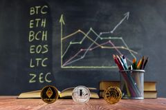 A table with books on the background of graphs on a chalkboard. Learning crypto currency in school. Concept, a new educational sub. Ject for children stock images