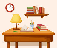 Table with books and lamp on it, shelf and clock. Vector interior. Royalty Free Stock Image