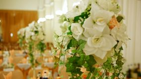 Table With Bouquets Of Flowers stock footage