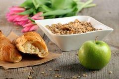 Table Breakfast. Continental Breakfast - muesli Royalty Free Stock Photography