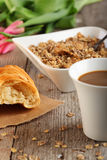 Table Breakfast. Continental Breakfast - muesli Royalty Free Stock Photos