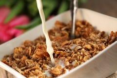 Table Breakfast. Continental Breakfast - muesli Royalty Free Stock Images