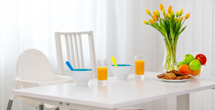 Table for breakfast of children Royalty Free Stock Photo