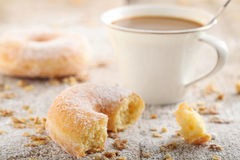 Breakfast Table. Table Breakfast - Continental Breakfast, coffee and donuts Royalty Free Stock Photos