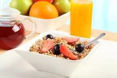 Breakfast Table. Table Breakfast - Continental Breakfast, fruit, cereals and orange juice Royalty Free Stock Photo