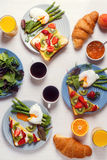 Table with breakfast, top view. Royalty Free Stock Photography
