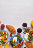 Table with breakfast, top view. Royalty Free Stock Photo