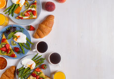 Table with breakfast, top view. Stock Image