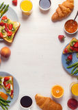 Table with breakfast, top view. Stock Photo