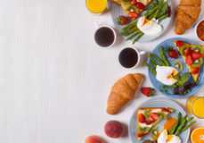 Table with breakfast, top view. Royalty Free Stock Photos