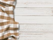 Table with brown picnic cloth top view background stock photo