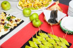 Table Buffet Dishes. reception. Snacks stock images