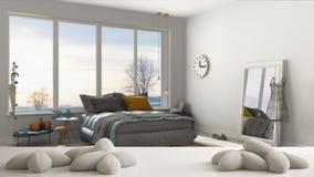 Table, bureau ou étagère blanc avec cinq oreillers blancs mous sous forme d'étoiles ou fleurs, au-dessus de chambre à coucher mod illustration de vecteur