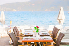 Table cafe on the beach Royalty Free Stock Image