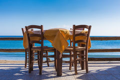 Table cafe on the shore Stock Images