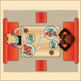 Table in cafe for two, the top view. Stock Photo