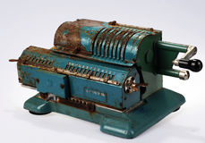 Table calculable machine. A table calculable typewriter is made at the beginning of the nineteenth Stock Image