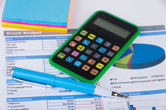Table with calculation of budget event Stock Photography