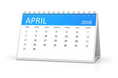 Table calendar 2018 april. 3d rendering of a table calendar for your events 2018 april Stock Image