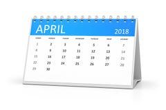Table calendar 2018 april Stock Image