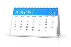 Table calendar 2018 august Royalty Free Stock Photography