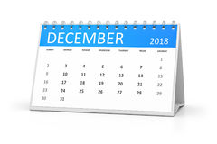 Table calendar 2018 december. 3d rendering of a table calendar for your events 2018 december Royalty Free Stock Image