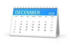 Table calendar 2018 december Royalty Free Stock Image