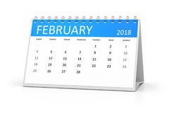 Table calendar 2018 february. 3d rendering of a table calendar for your events 2018 february Stock Photography