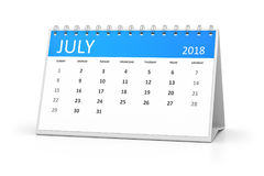Table calendar 2018 july. 3d rendering of a table calendar for your events 2018 july Stock Image