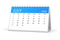 Table calendar 2018 july Stock Image