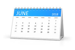 Table calendar 2018 june Royalty Free Stock Photography