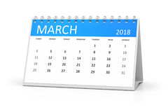 Table calendar 2018 march Royalty Free Stock Photo