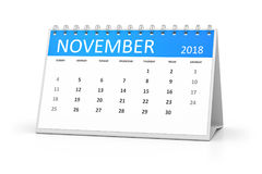 Table calendar 2018 november. 3d rendering of a table calendar for your events 2018 november Stock Images